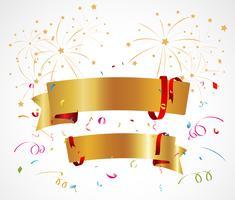 Sfondo di celebrazione con nastro e coriandoli