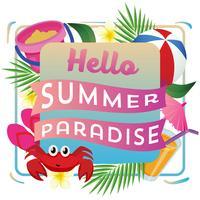 ciao paradiso estivo con giochi da spiaggia vettore