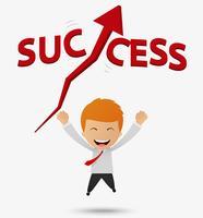 L'uomo d'affari felice ottiene il successo vettore