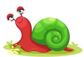 Simpatico cartone animato di lumaca rossa vettore