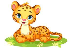 Cartone animato carino leopardo bambino vettore