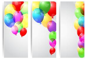 Banner di celebrazione PrintBirthday con palloncini colorati vettore