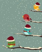 Uccelli sugli alberi scena invernale vettore