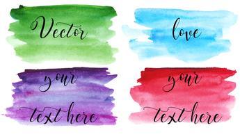 Set di macchia acquerello. Punti su uno sfondo bianco. Trama acquerello con tratti di pennello. Verde, viola, blu, rosso. Isolato. Vettore.