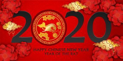 2020 Buon anno cinese. Progettare con fiori e ratto su sfondo rosso. stile di arte cartacea. felice anno del ratto. Vettore.