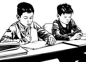 Scuola bambini in classe vettore