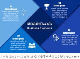 Modello di processo e icone di business timeline infografica. Concetto di business con 4 opzioni, passaggi o processi. Vettore.