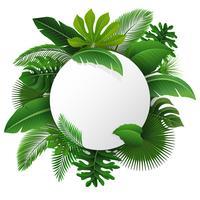 Segno rotondo con lo spazio del testo di foglie tropicali. Adatto a concetto di natura, vacanze e vacanze estive. Illustrazione vettoriale