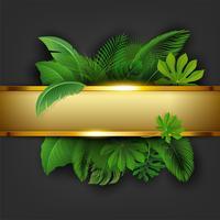Bandiera dorata con lo spazio del testo di permesso tropicale. Adatto a concetto di natura, vacanze e vacanze estive. Illustrazione vettoriale