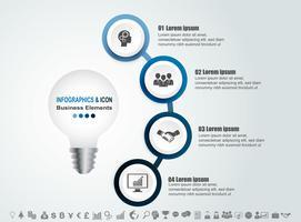 Modello di processo e icone di business timeline infografica. Progettare con la lampadina, idae marketing può essere utilizzato per il layout del flusso di lavoro, report,. Concetto di business con 4 opzioni, passaggi o processi. Vettore.
