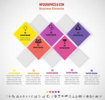 Modello di processo e icone di business timeline infografica. Concetto di business con 5 opzioni, passaggi o processi. Vettore.