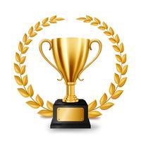Trofeo dorato realistico con Gold Laurel Wreath, illustrazione vettoriale