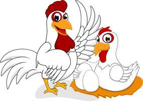 Cartone animato di pollo bianco vettore