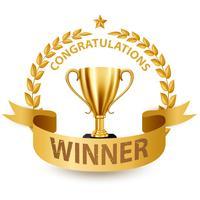 Trofeo dorato realistico con Gold Laurel Wreath e nastro, illustrazione vettoriale