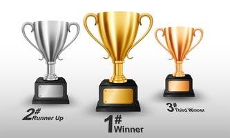 Trofeo di oro, argento e bronzo realistico con spazio testo. Illustrazione vettoriale