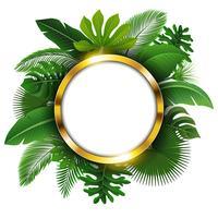 Insegna dorata rotonda con lo spazio del testo delle foglie tropicali. Adatto a concetto di natura, vacanze e vacanze estive. Illustrazione vettoriale