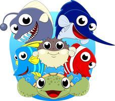 Serie di set vettoriale di pesce di mare