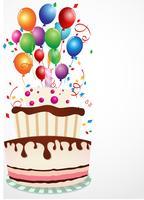 Torta di compleanno con palloncino vettore