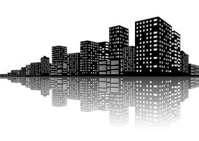 Scene notturne di City Skyline vettore