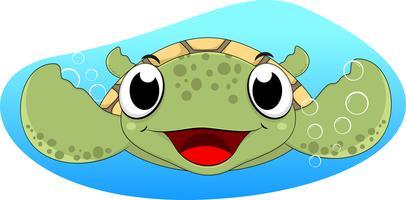 Simpatico cartone animato di tartaruga marina vettore