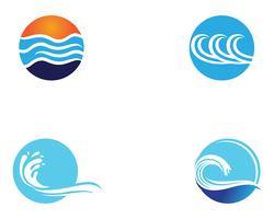 Modello di vettore di logo e simboli di spiaggia dell'onda