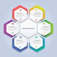 Modello di infografica moderna esagono 3D con sei opzioni per layout del flusso di lavoro, diagramma, relazione annuale, web design vettore