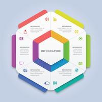 Modello di infografica esagono con sei opzioni per il layout del flusso di lavoro, diagramma, relazione annuale, web design
