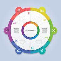 Modello di cerchio di affari infografica con 6 opzioni per layout del flusso di lavoro, diagramma, relazione annuale, web design vettore