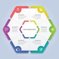 Modello di esagono infografica vettoriale con 6 opzioni per layout del flusso di lavoro, diagramma, relazione annuale, web design