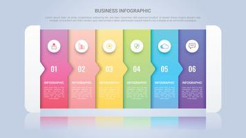 Modello di infografica moderna per le imprese con sei passaggi etichetta multicolore vettore