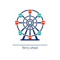 Icona di arte di ruota panoramica. Giro del parco divertimenti.