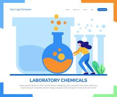 Fondo di vettore della pagina di atterraggio delle sostanze chimiche del laboratorio.