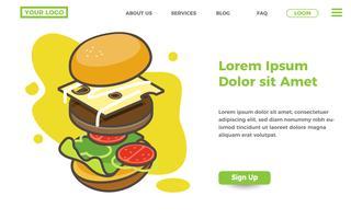 modello di pagina di destinazione del negozio di alimentari e hamburger vettore