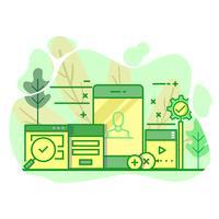 illustrazione moderna di colore verde piatto dell'interfaccia utente vettore