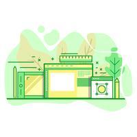 illustrazione moderna di colore verde piano di arte digitale vettore