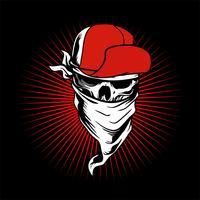 teschio indossando berretto e bandana ... disegno a mano di vettori, disegni di magliette, motociclista, disc jockey, gentiluomo, barbiere e molti altri.isolati e facili da modificare. Illustrazione vettoriale - Vector