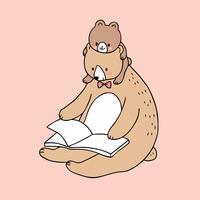 Vettore sveglio del libro di lettura dell'orso del papà e del bambino del fumetto.