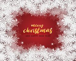 La cartolina d'auguri del buon anno e di Buon Natale in carta ha tagliato il fondo di stile. Illustrazione vettoriale Fiocchi di Natale celebrazione su sfondo rosso per banner, flyer, poster, carta da parati, modello.