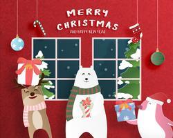 Buon Natale e felice anno nuovo biglietto di auguri in carta tagliata stile. Illustrazione vettoriale Sfondo di celebrazione di Natale con la famiglia felice. Banner, flyer, poster, carta da parati, modello.