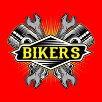 vettore di disegno della mano della chiave inglese e del pistone di stile del motociclista di stile del grunge