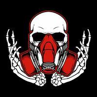 Cranio di graffiti con maschera antigas disegno a mano, disegni di camicia, motociclista, disc jockey, gentiluomo, barbiere e molti altri. isolato e facile da modificare. Illustrazione vettoriale - Vector
