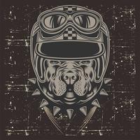 pit bull di stile del grunge che indossa casco retro, vettore del disegno della mano