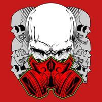 Cranio umano in maschera antigas. Emblema di tossicità disegnato a mano. disegno a mano, disegni di camicia, motociclista, disc jockey, gentiluomo, barbiere e molti altri. isolato e facile da modificare. Illustrazione vettoriale - Vector
