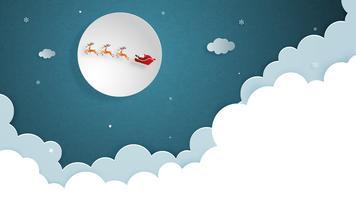 Buon Natale e felice anno nuovo biglietto di auguri in carta tagliata stile. Illustrazione vettoriale Sfondo di celebrazione di Natale con Babbo Natale e renne. Banner, flyer, poster, carta da parati, modello.