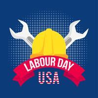 Illustrazione della festa del lavoro con un casco giallo e due chiavi