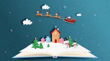 Buon Natale e felice anno nuovo biglietto di auguri in carta tagliata stile. Illustrazione vettoriale Sfondo di celebrazione di Natale. Banner, flyer, poster, carta da parati, modello.