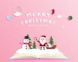 Buon Natale e felice anno nuovo biglietto di auguri in carta tagliata stile. Illustrazione vettoriale Sfondo di celebrazione di Natale con pupazzo di neve e Babbo Natale. Banner, flyer, poster, carta da parati, modello.