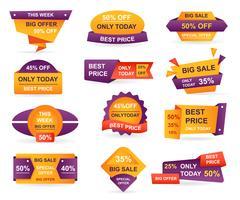 Set di tag di vendita al dettaglio. Adesivi miglior prezzo di offerta e design distintivo di tag di grande vendita. Etichetta di offerta di vendita limitata o carta banner sconto negozio isolato. Buono acquisto Illustrazione vettoriale