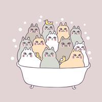 Cartone animato carino gatti e bagno vettoriale.