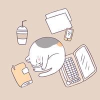 Vettore di sonno sveglio del gatto del fumetto.